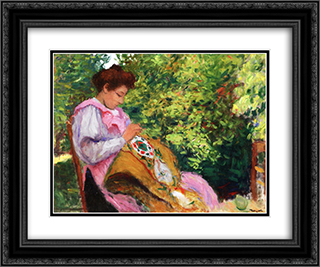 Girl Embroidering, Seated in a Garden 24x20 Black or Gold Ornate Framed and Double Matted Art Print by Albert Marquet