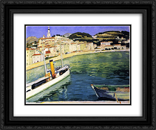 Harbor of Menton 24x20 Black or Gold Ornate Framed and Double Matted Art Print by Albert Marquet