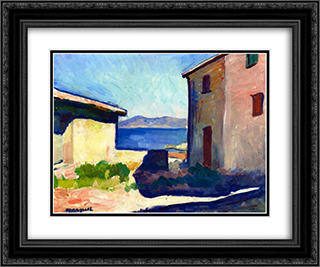 House at Saint-Tropez 24x20 Black or Gold Ornate Framed and Double Matted Art Print by Albert Marquet