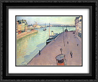 Le Havre 24x20 Black or Gold Ornate Framed and Double Matted Art Print by Albert Marquet