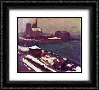 Notre-Dame in Winter 22x20 Black or Gold Ornate Framed and Double Matted Art Print by Albert Marquet