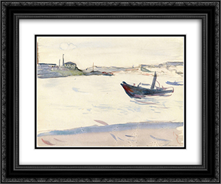 Outskirts of Paris 24x20 Black or Gold Ornate Framed and Double Matted Art Print by Albert Marquet