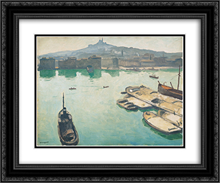 Port of Marseilles 24x20 Black or Gold Ornate Framed and Double Matted Art Print by Albert Marquet