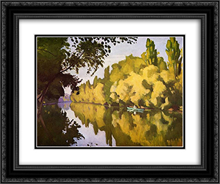 River scene 24x20 Black or Gold Ornate Framed and Double Matted Art Print by Albert Marquet