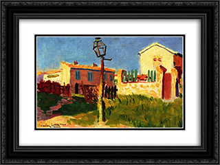 Street Lamp, Arcueil 24x18 Black or Gold Ornate Framed and Double Matted Art Print by Albert Marquet