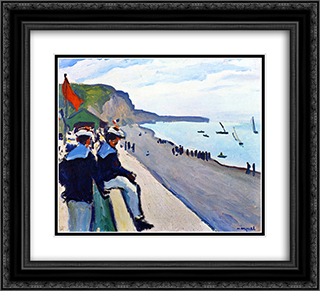 The Beach at Fecamp 22x20 Black or Gold Ornate Framed and Double Matted Art Print by Albert Marquet