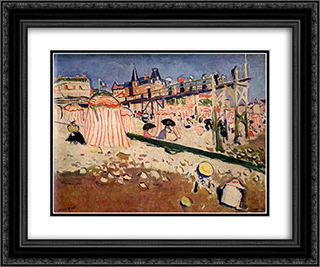 The Beach at Sainte-Adresse 24x20 Black or Gold Ornate Framed and Double Matted Art Print by Albert Marquet