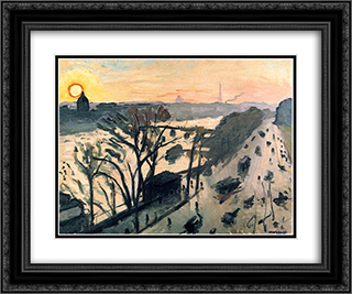The Louvre Embankment 24x20 Black or Gold Ornate Framed and Double Matted Art Print by Albert Marquet