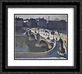 The Pont Neuf 22x20 Black or Gold Ornate Framed and Double Matted Art Print by Albert Marquet