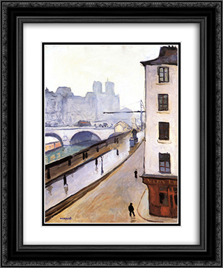 The Pont Saint-Michel and Notre Dame 20x24 Black or Gold Ornate Framed and Double Matted Art Print by Albert Marquet