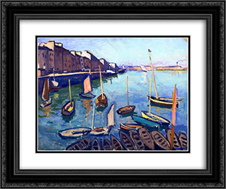 The Port, Le Havre 24x20 Black or Gold Ornate Framed and Double Matted Art Print by Albert Marquet