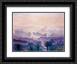 The Port of Algiers with Haze 24x20 Black or Gold Ornate Framed and Double Matted Art Print by Albert Marquet