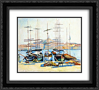 The Port of Marseliles 22x20 Black or Gold Ornate Framed and Double Matted Art Print by Albert Marquet