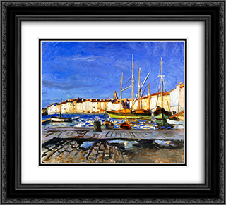 The Port of Saint-Tropez 22x20 Black or Gold Ornate Framed and Double Matted Art Print by Albert Marquet