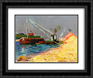 Unloading Sand 24x20 Black or Gold Ornate Framed and Double Matted Art Print by Albert Marquet