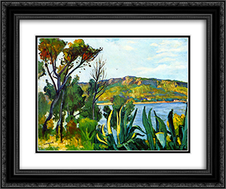 View of Agay 24x20 Black or Gold Ornate Framed and Double Matted Art Print by Albert Marquet