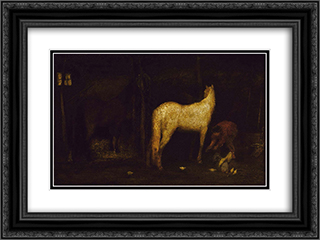 In the Stable 24x18 Black or Gold Ornate Framed and Double Matted Art Print by Albert Pinkham Ryder