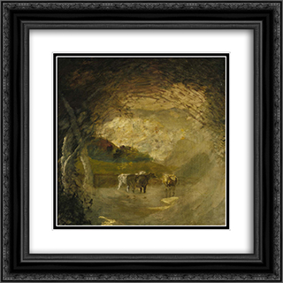 Landscape with Trees and Cattle 20x20 Black or Gold Ornate Framed and Double Matted Art Print by Albert Pinkham Ryder