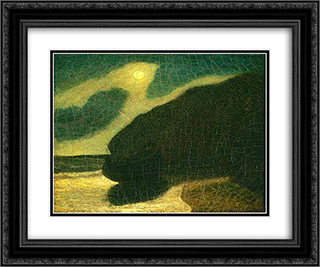 Moonlit Cove 24x20 Black or Gold Ornate Framed and Double Matted Art Print by Albert Pinkham Ryder