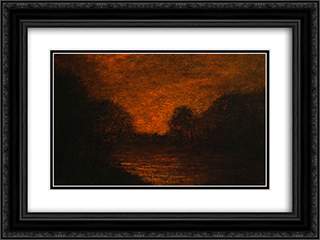 Pond in Moonlight 24x18 Black or Gold Ornate Framed and Double Matted Art Print by Albert Pinkham Ryder