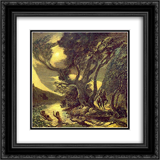 Siegfried and the Rhine Maidens 20x20 Black or Gold Ornate Framed and Double Matted Art Print by Albert Pinkham Ryder