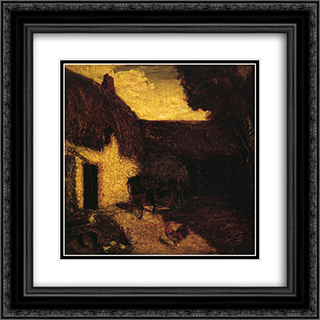 The Barnyard 20x20 Black or Gold Ornate Framed and Double Matted Art Print by Albert Pinkham Ryder
