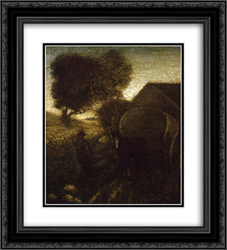 The Farmyard 20x22 Black or Gold Ornate Framed and Double Matted Art Print by Albert Pinkham Ryder