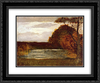 The Pond 24x20 Black or Gold Ornate Framed and Double Matted Art Print by Albert Pinkham Ryder