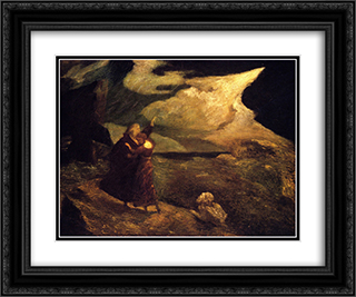 The Tempest 24x20 Black or Gold Ornate Framed and Double Matted Art Print by Albert Pinkham Ryder