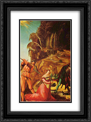 Beheading of St. Catherine 18x24 Black or Gold Ornate Framed and Double Matted Art Print by Albrecht Altdorfer