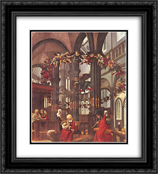 Birth of Mary 20x22 Black or Gold Ornate Framed and Double Matted Art Print by Albrecht Altdorfer