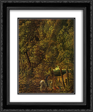 Countryside of wood with Saint George fighting the dragon 20x24 Black or Gold Ornate Framed and Double Matted Art Print by Albrecht Altdorfer