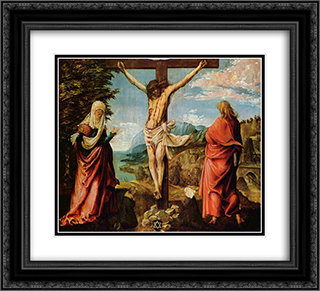 Crucifixion scene, Christ on the Cross with Mary and John 22x20 Black or Gold Ornate Framed and Double Matted Art Print by Albrecht Altdorfer