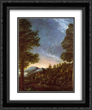 Danube landscape near Regensburg with Scheuchenberg 20x24 Black or Gold Ornate Framed and Double Matted Art Print by Albrecht Altdorfer