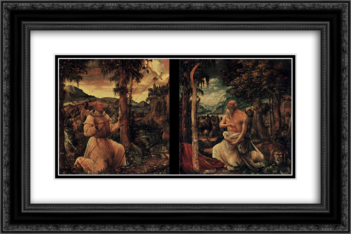 Diptych 24x16 Black or Gold Ornate Framed and Double Matted Art Print by Albrecht Altdorfer