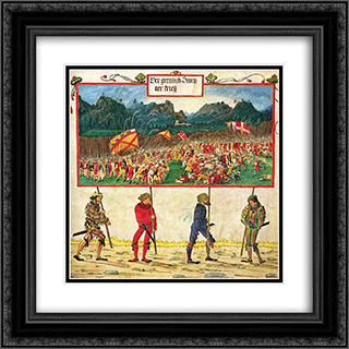 Emperor Maximilian triumphal 20x20 Black or Gold Ornate Framed and Double Matted Art Print by Albrecht Altdorfer