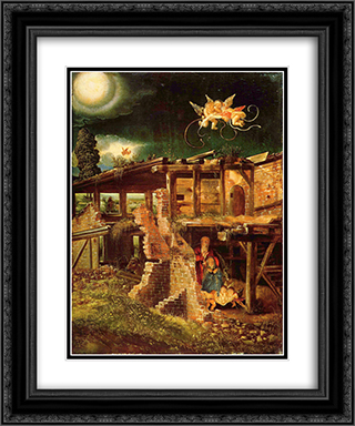Holy Night (Nativity) 20x24 Black or Gold Ornate Framed and Double Matted Art Print by Albrecht Altdorfer