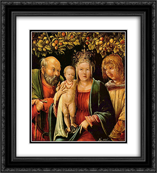 Holy Family with an Angel 20x22 Black or Gold Ornate Framed and Double Matted Art Print by Albrecht Altdorfer