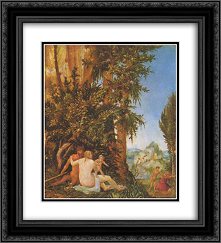 Landscape with Satyrfamilie 20x22 Black or Gold Ornate Framed and Double Matted Art Print by Albrecht Altdorfer
