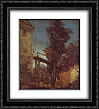Landscape with a Footbridge 20x22 Black or Gold Ornate Framed and Double Matted Art Print by Albrecht Altdorfer