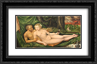 Lot and his daughter 24x16 Black or Gold Ornate Framed and Double Matted Art Print by Albrecht Altdorfer