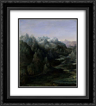 Mountain Range 20x22 Black or Gold Ornate Framed and Double Matted Art Print by Albrecht Altdorfer