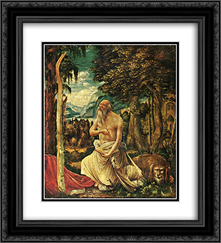 Penitent St. Jerome 20x22 Black or Gold Ornate Framed and Double Matted Art Print by Albrecht Altdorfer