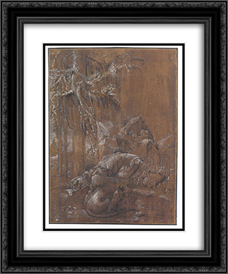 Samson and the Lion 20x24 Black or Gold Ornate Framed and Double Matted Art Print by Albrecht Altdorfer