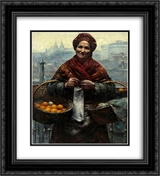 Jewish woman selling oranges 20x22 Black or Gold Ornate Framed and Double Matted Art Print by Aleksander Gierymski