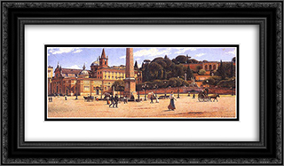 Piazza del Popolo w Rzymie 24x14 Black or Gold Ornate Framed and Double Matted Art Print by Aleksander Gierymski