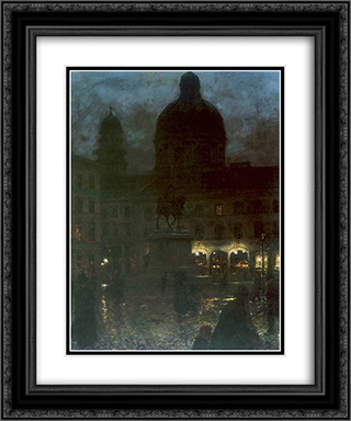 Plac Wittelsbachow w Monachium 20x24 Black or Gold Ornate Framed and Double Matted Art Print by Aleksander Gierymski