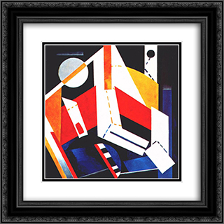 Construction 20x20 Black or Gold Ornate Framed and Double Matted Art Print by Aleksandra Ekster