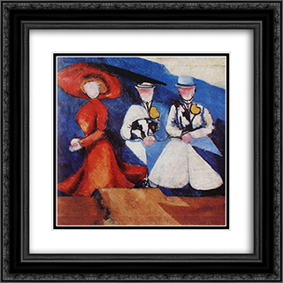 Three Female Figures 20x20 Black or Gold Ornate Framed and Double Matted Art Print by Aleksandra Ekster