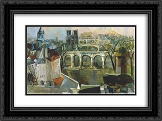 View of Paris 24x18 Black or Gold Ornate Framed and Double Matted Art Print by Aleksandra Ekster